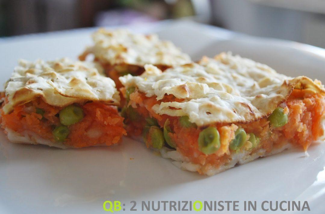 Tortino di pane azzimo con carote e piselli