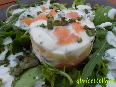 salmone in insalata con yogurt e cetrioli