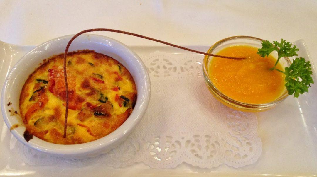 soufflè di verdure con salsa piccante alle carote