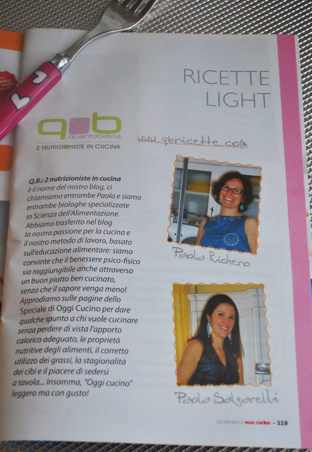 2 nutrizioniste in cucina sulle pagine degli Speciali di Oggi Cucino