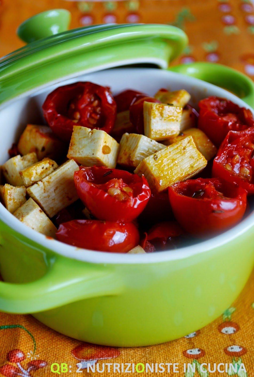 Tofu con pomodori ciliegini canditi al timo