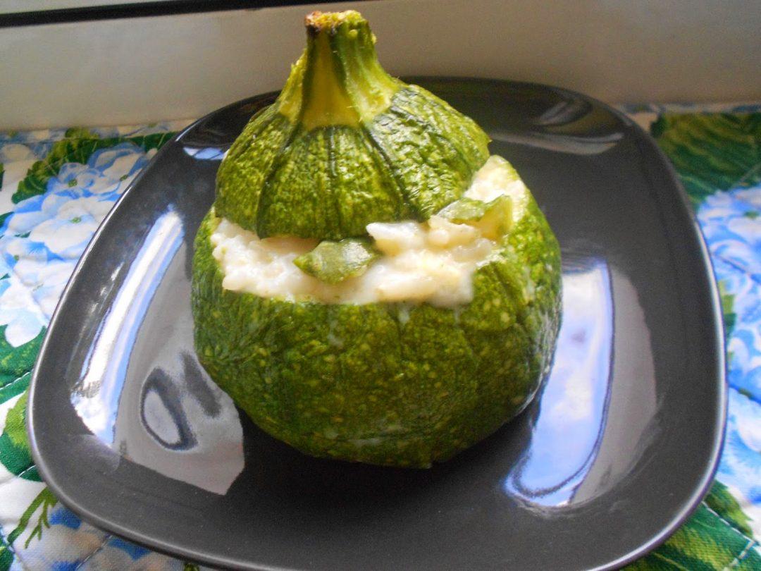 Risotto con zucchine e fontina gratinato al forno