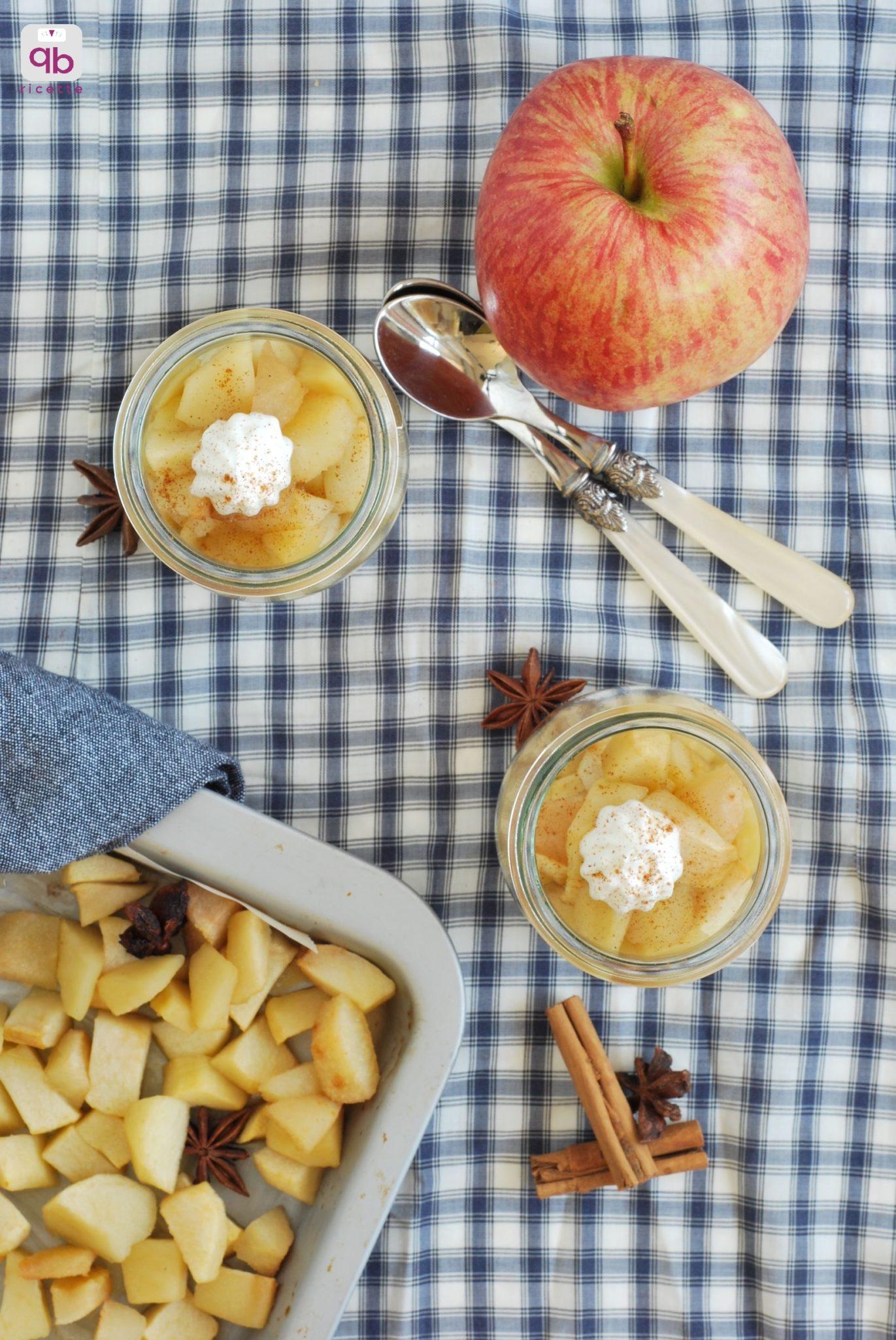 mele e pere cotte con yogurt greco