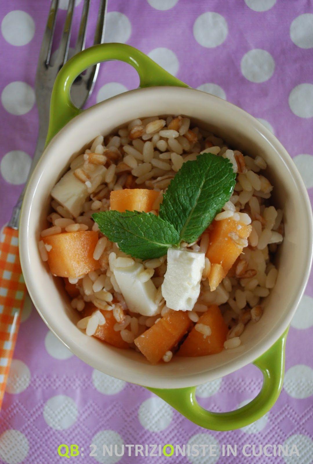 Tris di cereali con melone e feta